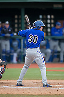 Tyler Boyd (30) of the Seton Hall Pirates at bat against the Virginia Cavaliers at The Ripken Experience on February 28, 2015 in Myrtle Beach, South Carolina.  The Cavaliers defeated the Pirates 4-1.  (Brian Westerholt/Four Seam Images)