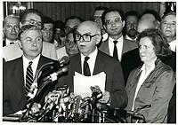 Demission du maire Jean Drapeau, Le 20 juin 1986<br /> <br /> PHOTO : agence quebec presse