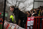 © Joel Goodman - 07973 332324 . 14/11/2015 . Manchester , UK . An FC United fan jumps from the sideline , during the match . FC United host Gainsborough Trinity in the National League North at Broadhurst Park . NB requested changing room access three times and was denied three times . Photo credit : Joel Goodman