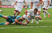 Sunday 25th October 2020 | Ulster vs Dragons<br /> <br /> 25 October 2020; Sean Reidy drives over to score for Ulster against the Dragons during the Guinness PRO14 match between Ulster and Dragons at Kingspan Stadium in Belfast. Photo by John Dickson / Dicksondigital