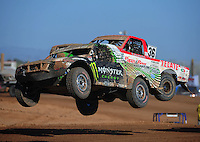 Apr 16, 2011; Surprise, AZ USA; LOORRS driver Casey Currie (2) leads Rodrigo Ampudia (36) during round 3 at Speedworld Off Road Park. Mandatory Credit: Mark J. Rebilas-.