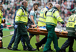 Celtic v St Johnstone …26.08.17… Celtic Park… SPFL<br />Murray Davidson is stretchered off after his head clash<br />Picture by Graeme Hart.<br />Copyright Perthshire Picture Agency<br />Tel: 01738 623350  Mobile: 07990 594431