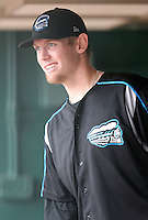 """Syracuse Chiefs starting pitcher Stephen Strasburg (37) in the dugout in the sixth inning during a game vs. the Buffalo Bisons at Coca-Cola Field in Buffalo, New York;  Thursday June 3, 2010.  Syracuse defeated Buffalo by the score of 7-1 as Strasburg picked up his fourth win of the season in """"AAA"""".  Photo By Mike Janes/Four Seam Images"""