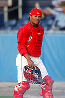 July 18, 2009:  Catcher Luis De La Cruz of the Batavia Muckdogs during a game at Dwyer Stadium in Batavia, NY.  The Muckdogs are the NY-Penn League Short-Season Class-A affiliate of the St. Louis Cardinals.  Photo By Mike Janes/Four Seam Images