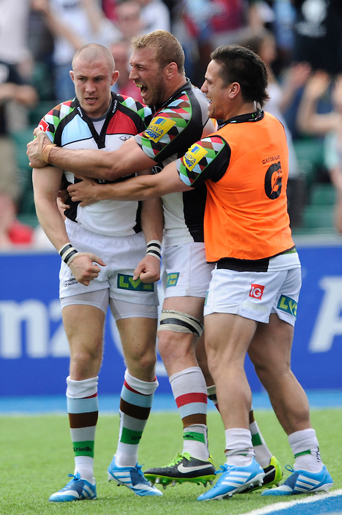 Mike Brown (left) and Chris Robshaw of Harlequins show emotion after Brown scores a try during the Aviva Premiership semi final match between Saracens and Harlequins at Allianz Park on Saturday 17th May 2014 (Photo by Rob Munro)