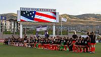 HERRIMAN, UT - JULY 17: Utah Royals FC and Houston Dash participate in the National Anthem during a game between Utah Royals FC and Houston Dash at Zions Bank Stadium on July 17, 2020 in Herriman, Utah.
