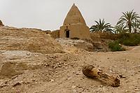 EGYPT, oasis El-Wahat el-Bahariya, Bawiti, old islamic tomb clay building / AEGYPTEN, Oase Bahariyya, Bawiti,  alte muslimische Grabstaette aus Lehm