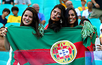 Portugal fans cheer their side on before kick off