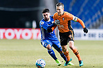 Ulsan Hyundai Midfielder Dimitrios Petratos (L) fights for the ball with Brisbane Roar Midfielder Matt Mckay (R) during the AFC Champions League 2017 Group E match between Ulsan Hyundai FC (KOR) vs Brisbane Roar (AUS) at the Ulsan Munsu Football Stadium on 28 February 2017 in Ulsan, South Korea. Photo by Victor Fraile / Power Sport Images