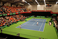 11-02-12, Netherlands,Tennis, Den Bosch, Daviscup Netherlands-Finland, Dubbels, Jean-Julien Rojer en Robin Haase  Jarkko Nieminnen en Harri Heliovaara