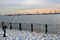 A man is fishing at a sea opposite to the Port of Tokyo, Japan, which is half empty. Industrial production in Japan plunged at the steepest pace in 55 years in the fourth quarter, and unemployment rose at the fastest rate in 41 years with exports in the third quarter were a record 13.9 per cent lower than in the previous quarter..19 Feb 2009