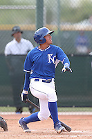 Samir Duenez #17 of the Kansas City Royals bats during a Minor League Spring Training Game against the Texas Rangers at the Kansas City Royals Spring Training Complex on March 20, 2014 in Surprise, Arizona. (Larry Goren/Four Seam Images)