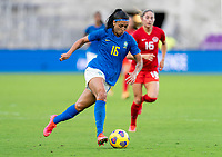 ORLANDO, FL - FEBRUARY 24: Beatriz #16 of Brazil dribbles during a game between Brazil and Canada at Exploria Stadium on February 24, 2021 in Orlando, Florida.