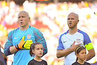 Santa Clara, CA - Friday June 03, 2016: United States goalkeeper Brad Guzan (1) and midfielder Michael Bradley (4) during a Copa America Centenario Group A match between United States (USA) and Colombia (COL) at Levi's Stadium.
