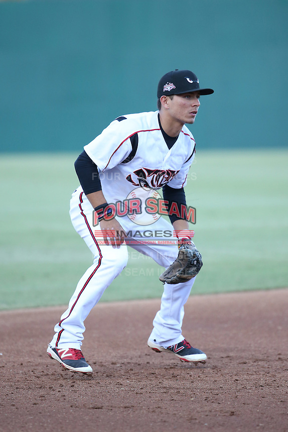 Luis Urias (9) of the Lake Elsinore Storm at third base during a game against the High Desert Mavericks at The Diamond on April 27, 2016 in Lake Elsinore, California. High Desert defeated Lake Elsinore, 10-2. (Larry Goren/Four Seam Images)