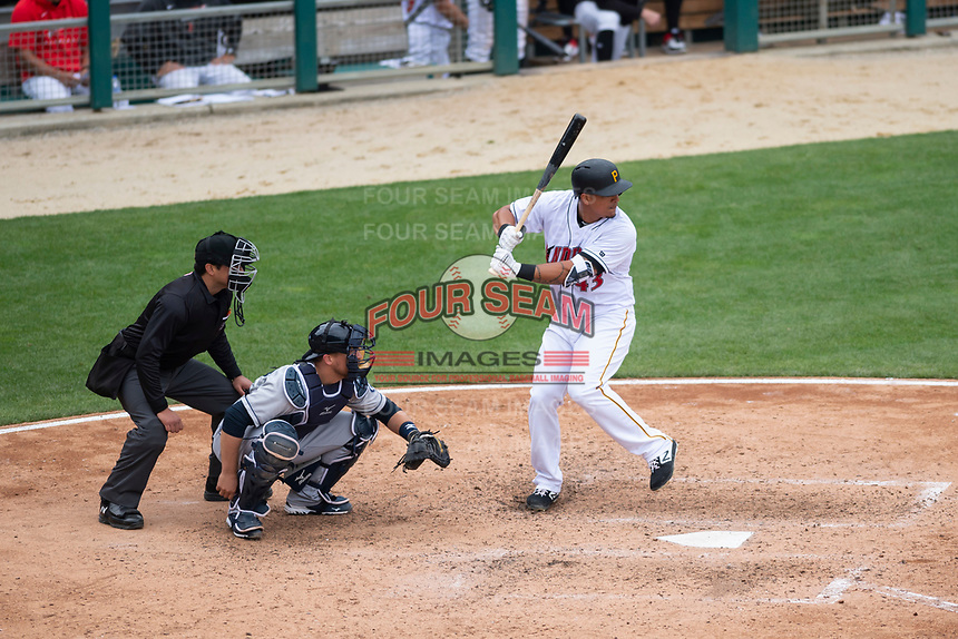 Indianapolis Indians designated hitter Jose Osuna (43)at bat in front of umpire Charlie Ramos and catcher Tim Federowicz (40) in a rehab assignment during an International League game against the Columbus Clippers on April 30, 2019 at Victory Field in Indianapolis, Indiana. Columbus defeated Indianapolis 7-6. (Zachary Lucy/Four Seam Images)