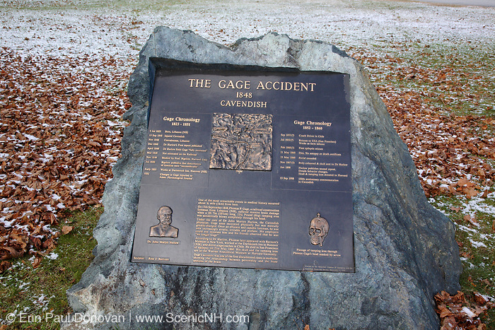 """The Gage Accident plaque in Cavendish, Vermont USA which is part of scenic New England. This plaque is for Phineas P Gage known as the """"Man With a Metal Rod in His Head"""". On September 13, 1848 while working for the Rutland & Burlington Railroad, Phineas P Gage suffered massive brain damage when a 3 foot long tamping iron was blown through is head. The most interesting part of the story is he recovered from the injury, but was mentally never the same."""