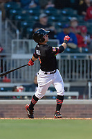 El Paso Chihuahuas shortstop Luis Urias (3) hits a home run during a Pacific Coast League game against the Albuquerque Isotopes at Southwest University Park on May 10, 2019 in El Paso, Texas. Albuquerque defeated El Paso 2-1. (Zachary Lucy/Four Seam Images)
