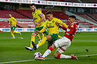 Norwich City's Max Aarons bocks the cross from Middlesbrough's Marvin Johnson<br /> <br /> Photographer Alex Dodd/CameraSport<br /> <br /> The EFL Sky Bet Championship - Middlesbrough v Norwich City - Saturday 21st November 2020 - Riverside Stadium - Middlesbrough<br /> <br /> World Copyright © 2020 CameraSport. All rights reserved. 43 Linden Ave. Countesthorpe. Leicester. England. LE8 5PG - Tel: +44 (0) 116 277 4147 - admin@camerasport.com - www.camerasport.com