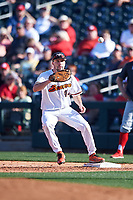 Oregon State Beavers first baseman Alex McGarry (44) during an NCAA game against the New Mexico Lobos at Surprise Stadium on February 14, 2020 in Surprise, Arizona. (Zachary Lucy / Four Seam Images)