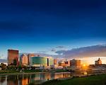 Dayton Skyline blue sky at sunset