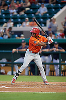 Palm Beach Cardinals Darren Seferina (8) bats during the Florida State League All-Star Game on June 17, 2017 at Joker Marchant Stadium in Lakeland, Florida.  FSL North All-Stars defeated the FSL South All-Stars  5-2.  (Mike Janes/Four Seam Images)