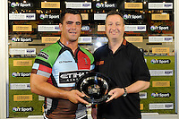 20130803 Copyright onEdition 2013 ©<br /> Free for editorial use image, please credit: onEdition.<br /> <br /> John Stainsby from J.P. Morgan Asset Management presents the plate for the winning team to Dave Ward captain of Harlequins 7s during the J.P. Morgan Asset Management Premiership Rugby 7s Series.<br /> <br /> The J.P. Morgan Asset Management Premiership Rugby 7s Series kicks off for the fourth season on Thursday 1st August with Pool A at Kingsholm, Gloucester with Pool B being played at Franklin's Gardens, Northampton on Friday 2nd August, Pool C at Allianz Park, Saracens home ground, on Saturday 3rd August and the Final being played at The Recreation Ground, Bath on Friday 9th August. The innovative tournament, which involves all 12 Premiership Rugby clubs, offers a fantastic platform for some of the country's finest young athletes to be exposed to the excitement, pressures and skills required to compete at an elite level.<br /> <br /> The 12 Premiership Rugby clubs are divided into three groups for the tournament, with the winner and runner up of each regional event going through to the Final. There are six games each evening, with each match consisting of two 7 minute halves with a 2 minute break at half time.<br /> <br /> For additional images please go to: http://www.w-w-i.com/jp_morgan_premiership_sevens/<br /> <br /> For press contacts contact: Beth Begg at brandRapport on D: +44 (0)20 7932 5813 M: +44 (0)7900 88231 E: BBegg@brand-rapport.com<br /> <br /> If you require a higher resolution image or you have any other onEdition photographic enquiries, please contact onEdition on 0845 900 2 900 or email info@onEdition.com<br /> This image is copyright the onEdition 2013©.<br /> <br /> This image has been supplied by onEdition and must be credited onEdition. The author is asserting his full Moral rights in relation to the publication of this image. Rights for onward transmission of any image or file is not granted or implied. Changing or deleting Copyrig