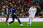 Fede Valverde of Real Madrid and Neymar Jr of Paris Saint-Germain FC during UEFA Champions League match between Real Madrid and Paris Saint-Germain FC at Santiago Bernabeu Stadium in Madrid, Spain. November 26, 2019. (ALTERPHOTOS/A. Perez Meca)