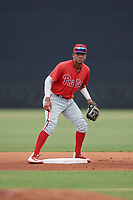 GCL Phillies East second baseman Guarner Dipre (28) during a Gulf Coast League game against the GCL Yankees East on July 31, 2019 at Yankees Minor League Complex in Tampa, Florida.  GCL Phillies East defeated the GCL Yankees East 4-3 in the second game of a doubleheader.  (Mike Janes/Four Seam Images)