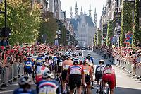 peloton rolling towards City Hall/ City center via the Bondgenotenlaan<br /> <br /> Women Elite - Road Race (WC)<br /> from Antwerp to Leuven (158km)<br /> <br /> UCI Road World Championships - Flanders Belgium 2021<br /> <br /> ©kramon
