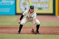 Greensboro Grasshoppers first baseman Aaron Shackelford (44) on defense against the Rome Braves at First National Bank Field on May 16, 2021 in Greensboro, North Carolina. (Brian Westerholt/Four Seam Images)