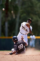 GCL Pirates second baseman Melvin Jimenez (65) throws to first as Pedro Urena (99) slides in during a game against the GCL Yankees East on August 15, 2016 at the Pirate City in Bradenton, Florida.  GCL Pirates defeated GCL Yankees East 5-2.  (Mike Janes/Four Seam Images)