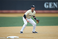 Wake Forest Demon Deacons third baseman Bruce Steel (17) on defense against the Notre Dame Fighting Irish at David F. Couch Ballpark on March 10, 2019 in  Winston-Salem, North Carolina. The Demon Deacons defeated the Fighting Irish 7-4 in game one of a double-header.  (Brian Westerholt/Four Seam Images)