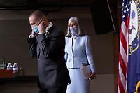 United States Representative Hakeem Jeffries (Democrat of New York), left, and United States Representative Katherine Clark (Democrat of Massachusetts) arrive to a news conference at the United States Capitol in Washington D.C., U.S., on Monday, June 29, 2020. Photo Credit: Stefani Reynolds/CNP/AdMedia