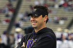 Steve Sarkisian, the head football coach at the University of Washington, prepares for his first Apple Cup rivalry game against the Washington State Cougars on November 28, 2009.
