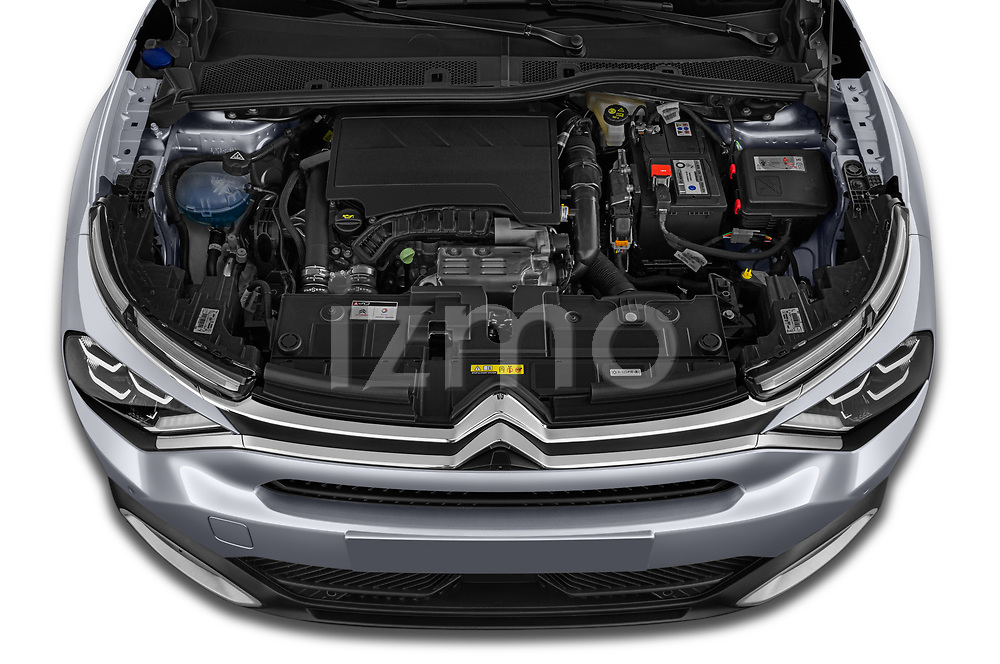 Car Stock 2021 Citroen C4 Shine-Pack 5 Door SUV Engine  high angle detail view