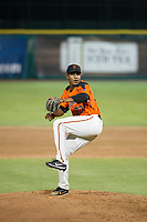 AZL Giants starting pitcher Jose Marte (73) delivers a pitch to the plate against the AZL Cubs on September 5, 2017 at Scottsdale Stadium in Scottsdale, Arizona. AZL Cubs defeated the AZL Giants 10-4 to take a 1-0 lead in the Arizona League Championship Series. (Zachary Lucy/Four Seam Images)