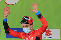 22nd April 2021;  Cycling Tour des Alpes Stage 4, Naturns/Naturno to Pieve di Bono, Italy on 22nd; Pello Bilbao Bahrain winner of the stage on the podium