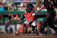 Batavia Muckdogs catcher Pablo Garcia (4) waits to receive a throw during a game against the West Virginia Black Bears on July 3, 2018 at Dwyer Stadium in Batavia, New York.  Batavia defeated West Virginia 5-4.  (Mike Janes/Four Seam Images)