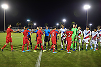 LAKEWOOD RANCH, FL - NOVEMBER 14: The U-16 Turkey Starting XI and U-17 USMNT Starting XI shake hands during a game between Turkey and U-17 USMNT at Premier Sports Campus on November 14, 2019 in Lakewood Ranch, Florida.