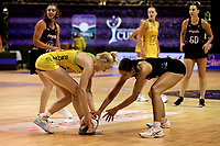 Action from the Constellation Cup international netball series match between New Zealand Silver Ferns and Australian Diamonds at Christchurch Arena in Christchurch, New Zealand on Tuesday, 2 March 2021. Photo: Martin Hunter / lintottphoto.co.nz