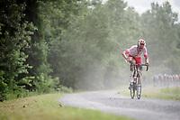 eventual race winner Kenneth Vanbilsen (BEL/Cofidis) attacking<br /> <br /> Dwars door het Hageland 2019 (1.1)<br /> 1 day race from Aarschot to Diest (BEL/204km)<br /> <br /> ©kramon