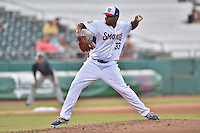 Tennessee Smokies starting pitcher Jeffry Antigua (33) delivers a pitch during a game against the Mobile BayBears on May 27, 2015 in Kodak, Tennessee. The Smokies defeated the BayBears 3-2. (Tony Farlow/Four Seam Images)