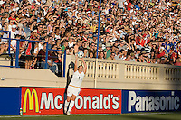 Cat Whitehill throws the ball into play. USA defeated Japan 4-1 at Spartan Stadium in San Jose, CA on July 28, 2007.