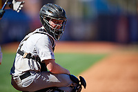 Army West Point catcher Jon Rosoff (7) looks to the dugout during a game against the Michigan Wolverines on February 17, 2018 at First Data Field in St. Lucie, Florida.  Army defeated Michigan 4-3.  (Mike Janes/Four Seam Images)