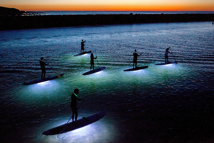 What I love so much about stand up paddle boarding is its ability to transport one, surrounded by nature, to a quiet, meditative state. On a perfect full moon, windless evening in late September, I got to photograph the nighttime version of this. Waterproof LED lights are attached to the bottom of the boards, illuminating the water below which meant the paddlers could see fish passing by. I photographed this from a jetty at a harbor near my<br /> house and was stunned by the beauty of it.