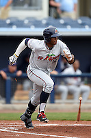 Fort Myers Miracle outfielder Adam Brett Walker II (12) at bat during a game against the Charlotte Stone Crabs on April 16, 2014 at Charlotte Sports Park in Port Charlotte, Florida.  Fort Myers defeated Charlotte 6-5.  (Mike Janes/Four Seam Images)