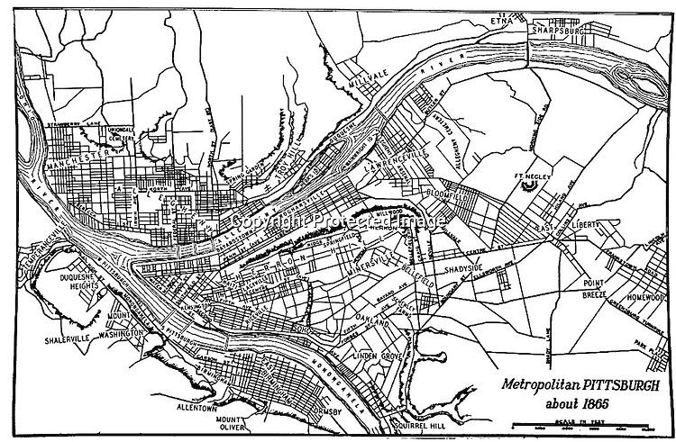 Map of Metropolitan Pittsburgh and surrounding communities around 1865.