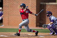 Justin Etts (12) of the NJIT Highlanders follows through on his swing against the High Point Panthers during game one of a double-header at Williard Stadium on February 18, 2017 in High Point, North Carolina.  The Panthers defeated the Highlanders 11-0.  (Brian Westerholt/Four Seam Images)