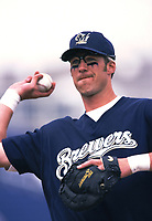 Richie Sexson of the Milwaukee Brewers during a 2001 season MLB game at Dodger Stadium in Los Angeles, California. (Larry Goren/Four Seam Images)